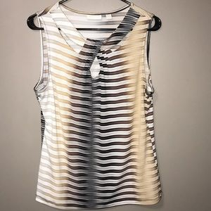 New York & Company Sleeveless Striped Top Size L